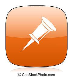 pin orange square web design glossy icon