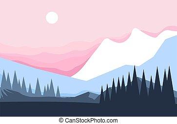 pin, paysage hiver, montagne, arbres, forêt, rochers
