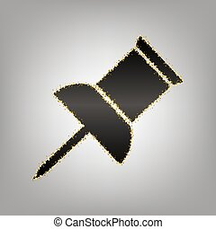 Pin push sign. Vector. Blackish icon with golden stars at...
