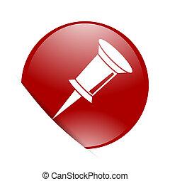 pin red circle glossy web icon
