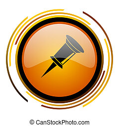 pin round design orange glossy web icon