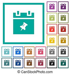 Pin schedule item flat color icons with quadrant frames on...