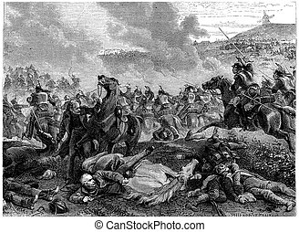 Pin the Battle of Ligny, Blucher overthrown by the charge of...