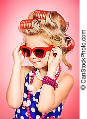 pin-up, óculos