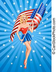 Pin-up blond patriotic woman with US flag on blue background
