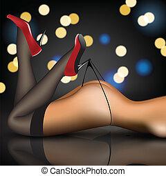 pin-up, calze, scarpe