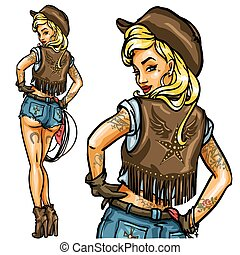 Pin Up Cowgirl isolated - Pin Up Cowgirl with lasso rope...