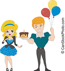 Pin Up Girl Birthday - Illustration of a Guy Handing a Cake...