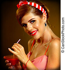Pin up girl drink bloody Mary cocktail. Pin-up retro female...