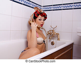 Pin up Girl in Bath