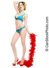 Pin-up girl in latex bikini