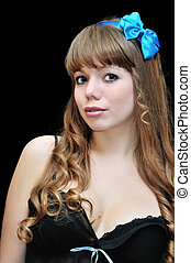 pin-up girl over black background