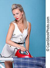 pin up girl retro style portrait woman ironing