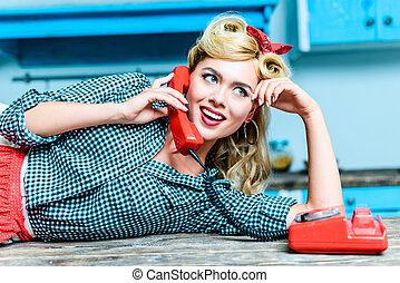 pin up girl talking on telephone