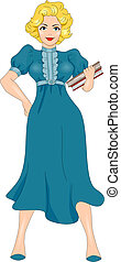 Pin-up Girl Teacher - Illustration of a Pin-up Girl Dressed...