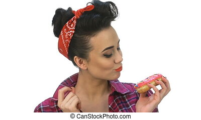 Pin up girl wants to eat yummy. Beautiful young woman with...