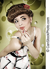 Pin-up girl with lipstick