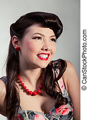pin-up girl with red beads