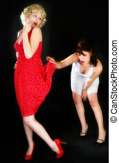Pin Up Girls - Pin up style portrait of two beautiful young...