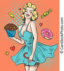 Pin up happy woman with sweets
