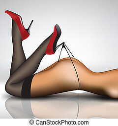 pin-up in stockings and shoes - pin-up women's legs in...