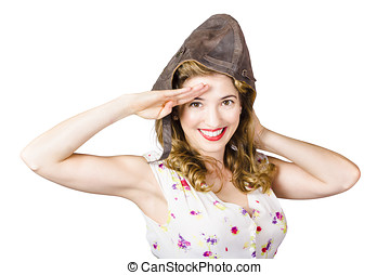Pin up lady saluting in fighter pilot cap