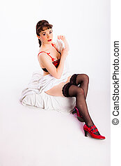 pin-up - young girl in fifties pin-up style wearing lingerie