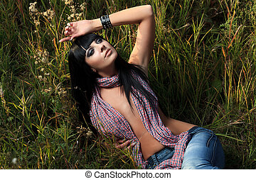 pin up - Shot of a sexy naked woman posing outdoor.