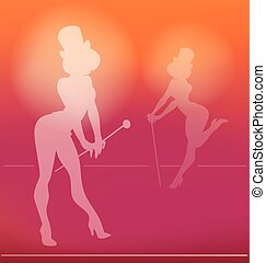 pin-up silhouette of cabaret girl