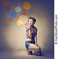 pin-up -  pin-up woman on her knees