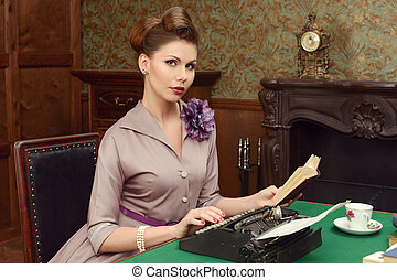 Pin-up woman in vintage interior