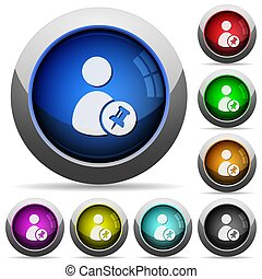 Pin user account round glossy buttons