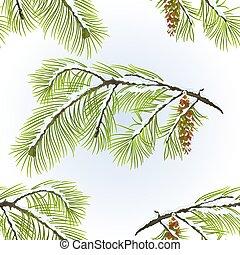 pin, vecteur, texture, cône, neigeux, blanc, hiver, seamless, branche
