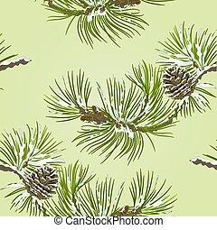 pin, vecteur, texture, cône, seamless, branche