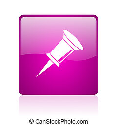 pin violet square web glossy icon