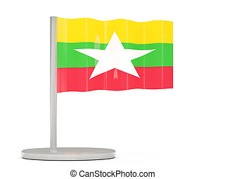 Pin with flag of myanmar