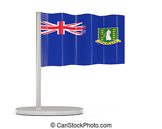 Pin with flag of virgin islands british. 3D illustration