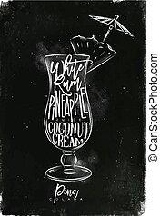 Pina colada cocktail chalk - Pina colada cocktail lettering...