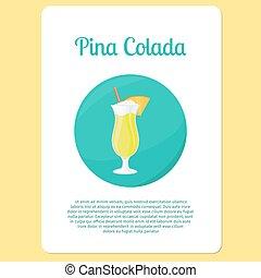 Pina Colada cocktail drink - Pina Colada cocktail menu item...