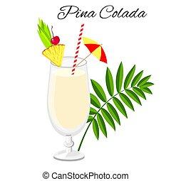 Pina Colada cocktail isolated on white - Pina Colada...
