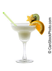 Pina Colada cocktail on a white background