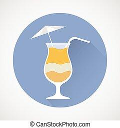 Pina Colada cocktail simple icon