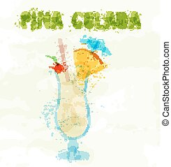 Pina colada cocktail with a slice of pineapple