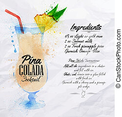 Pina colada cocktails watercolor - Pina colada cocktails...