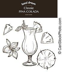 Pina Colada. Vector sketch illustration of cocktails. Hand...