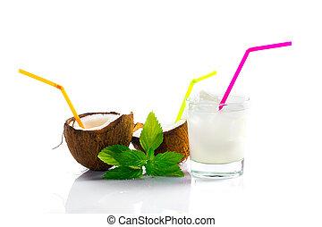 pinacolada, bebida, con, menta, hoja