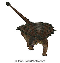 Pinacosaurus Dinosaur on White