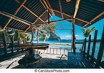 pinagbuyutan, ver, indrukwekkend, beauty, panorama, filippijnen, ontsnapping, tropische , terras, hout, eiland, bamboe, inlander
