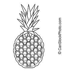 pinapple, entier, icône