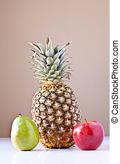 Pinapple, Green Pear and Red Apple